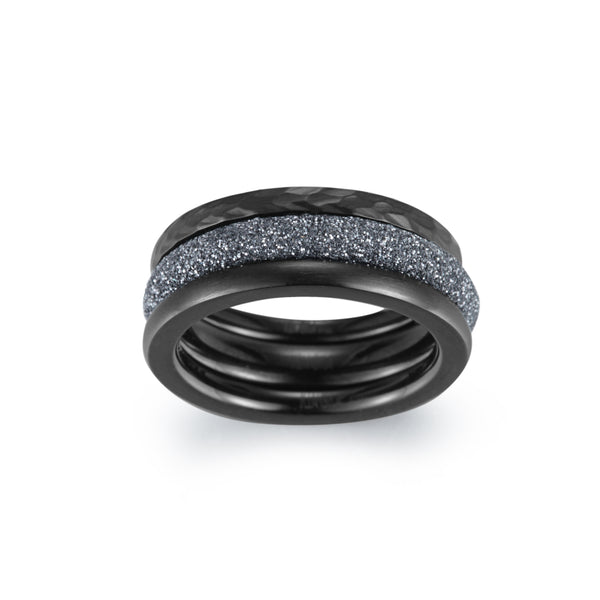 Women Stacking Rings Grey Glitter Dust