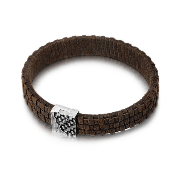 Men's Leather Bracelet with Woven Snap