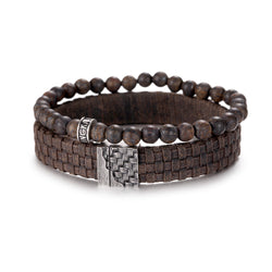 Mens Bronzite Beads with Leather Bracelet Set
