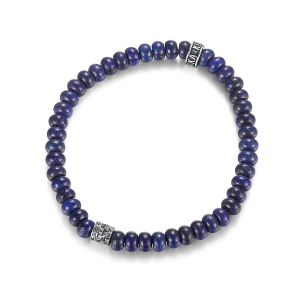 Fashion Blue Lapis Beaded Bracelet for Mens