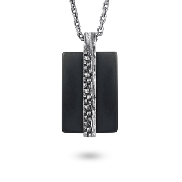 Men's Tag Necklace with Woven Element