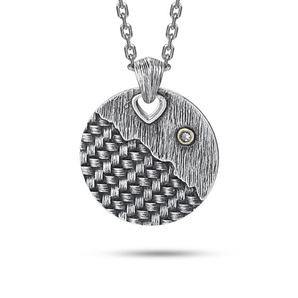 Circle Tag Necklace with Diamond