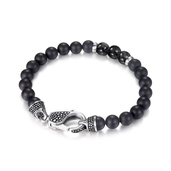 Mens Onyx Lapiz Beaded Bracelet