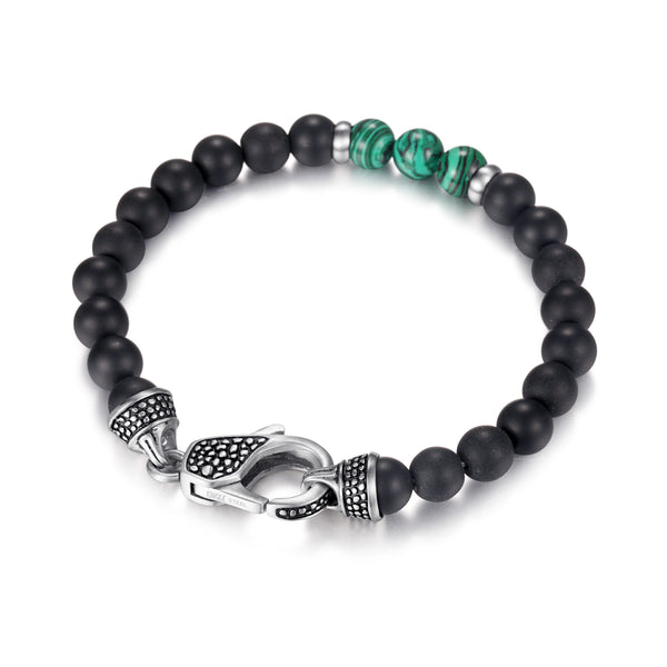 Mens Onyx Malachite Beaded Bracelet