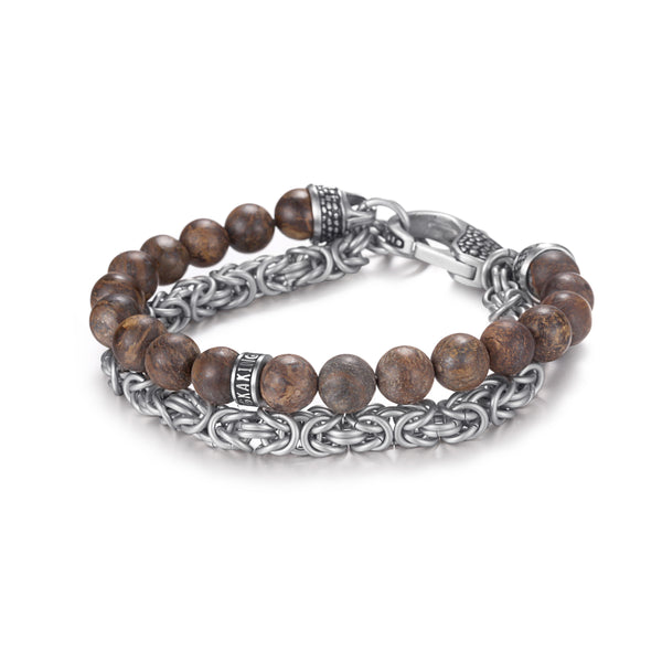 Natural Men Bead Stone Bracelet with Stainless Steel Chain Set