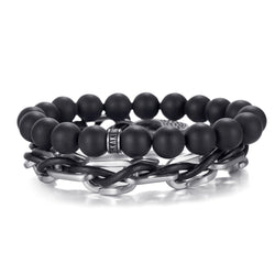 Mens Bracelet Onyx Beads Stainless Steel Chain Sets