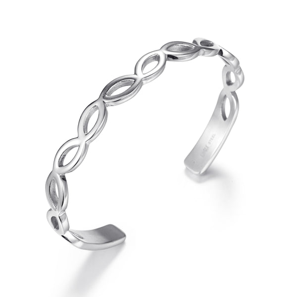 Women Stainless Steel Silver Bangle Leaves