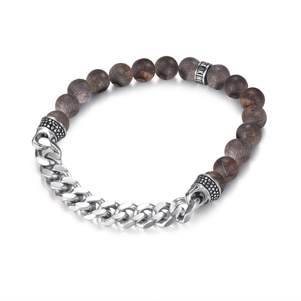 Mens Bronzite Bead Bracelets with Stainless Steel Chain