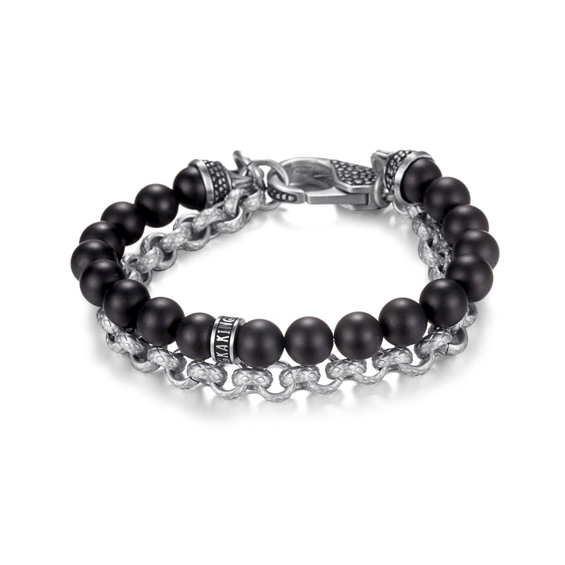 Mens Beaded Bracelets with Stainless Steel Chains