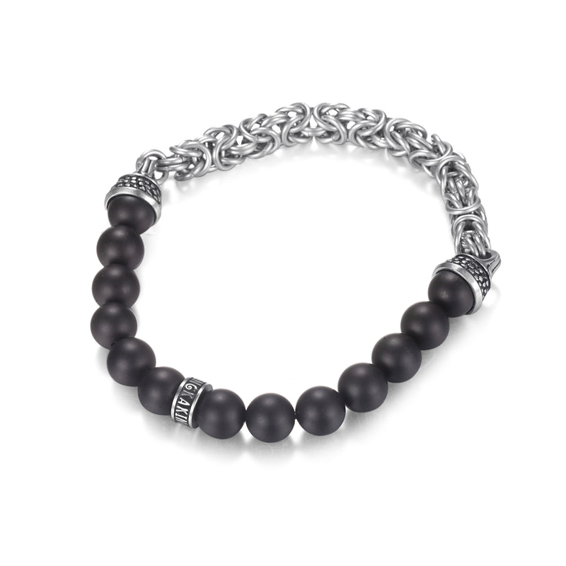 Mens Onyx Bronzite Beaded Bracelet with Stainless Steel Chains