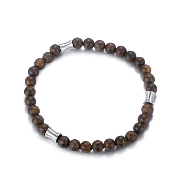 Men's Wristband with Bronzite, Stainless Steel Tube