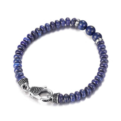 Newest Blue Lapiz Mens Beaded Bracelets with Clasp