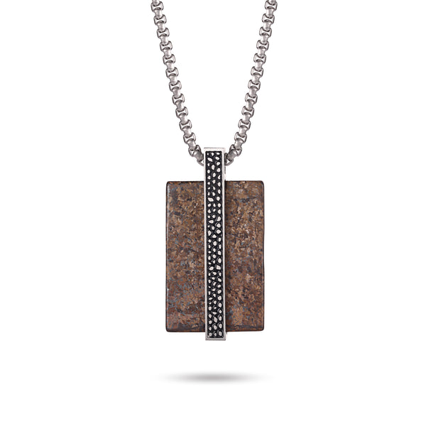 Men's Tag Necklace with Reptile Element - KINGKA Jewelry