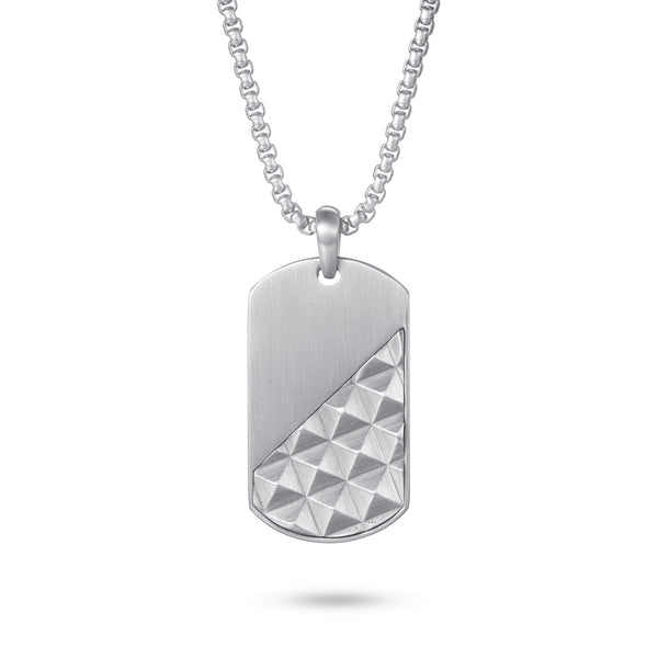 Stainless Steel Pyramid Dog Tag Necklace