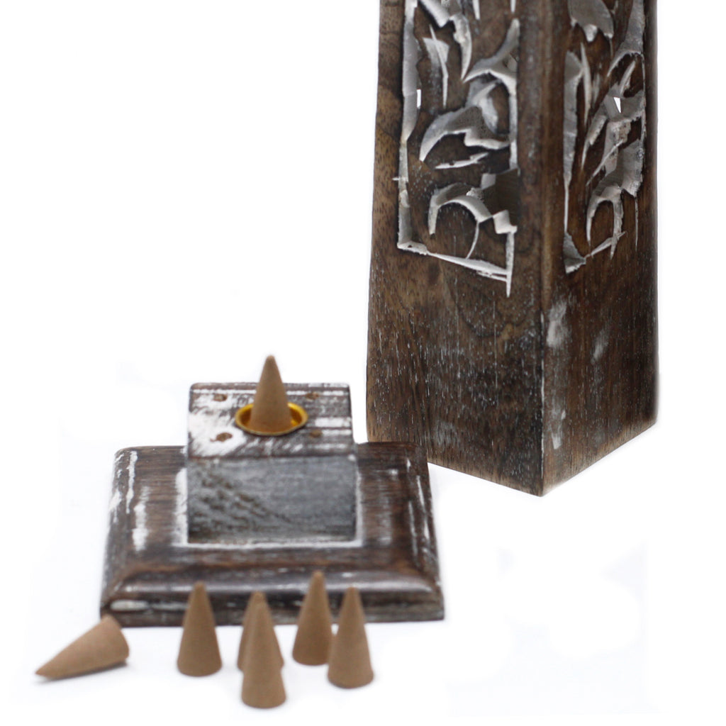Mango Wood Incense Tower - Whitewashed