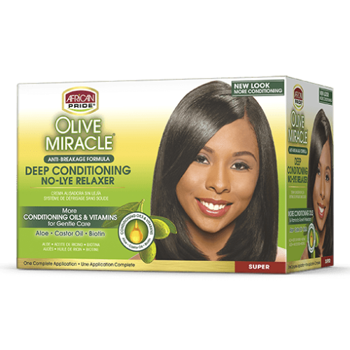 African Pride Olive Miracle Deep Conditioning No-Lye Relaxer - Super