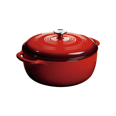 Lodge Enamel Cast Iron Red Dutch Oven 7.5 Quart / 7.1 Litre