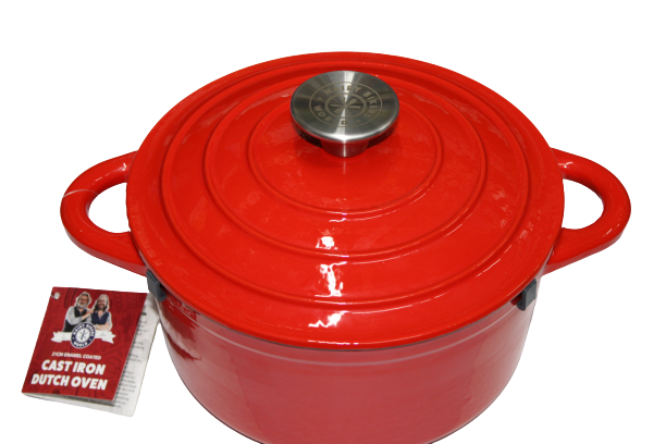 Red 'Hairy Bikers' Enameled Cast Iron Dutch Oven 21cm