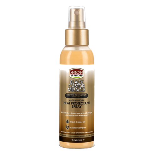 African Pride Black Castor Miracle Anti-Humidity Heat Protectant Spray 4oz