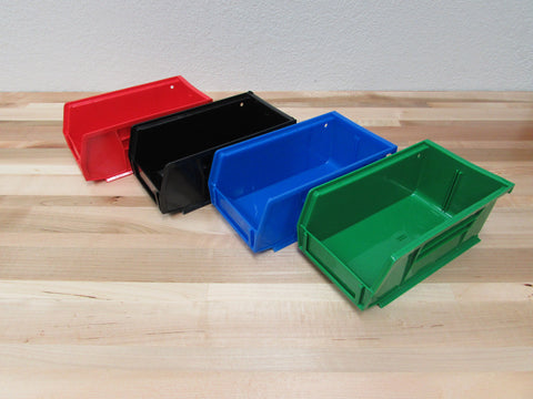 Large output bins.  Red\Blue\Black\Green