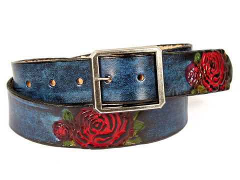 Handmade Leather Tooled Belts- 1.25""