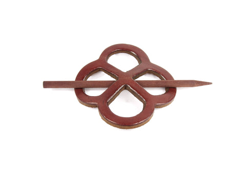 "Handmade ""Endless-Knot"" Leather Hair Barrette"