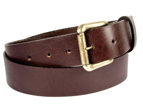 Brown leather belt with a removable gold buckle and a belt loop.