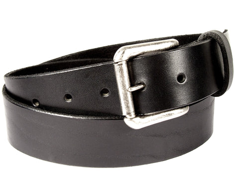 Black leather belt made from California Latigo cowhide, with five holes, a belt loop, and a removable silver roller buckle.
