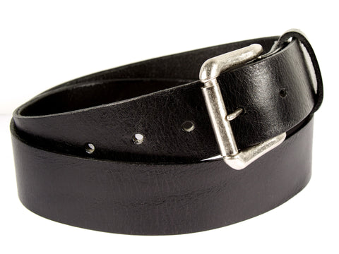 Black leather belt made from American cowhide with silver roller buckle.