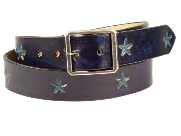 "Handmade Leather Belt-""Stars"""