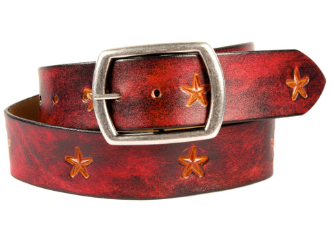 "Handmade Leather Belt-""Stars"" (1.75"")"