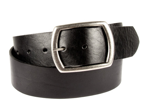 1.75 inch wide black belt made from American cowhide with five holes and a removable silver buckle.