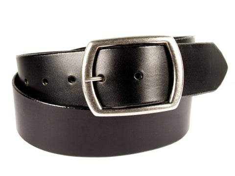 "Wide Handmade Leather Belt - ""Black Latigo"""