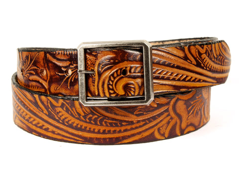 "Handmade Leather Belt ""Western Bloom"""