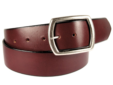 "Handmade Wide Leather Snap Belt-""Congac Brown'' (1.75'')"