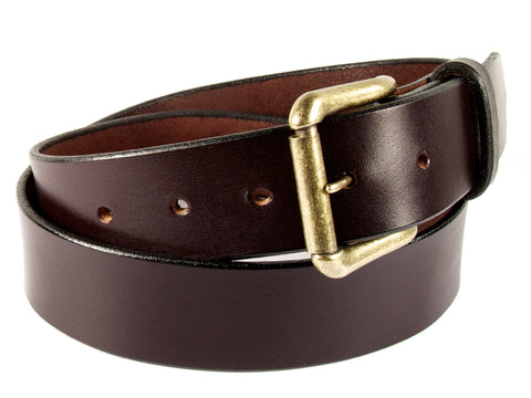 Chocolate brown leather belt with a gold roller buckle and a belt loop.