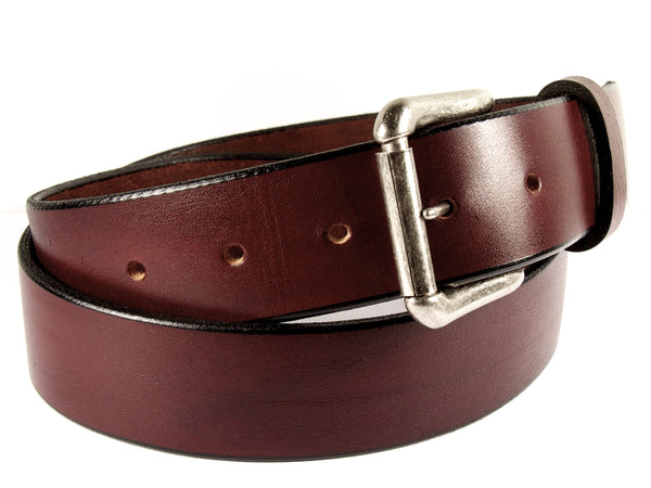 Cognac brown leather belt with a removable gold buckle and a belt loop.