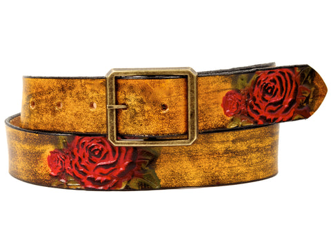 "Handmade Leather Belt-""Desert Rose"""