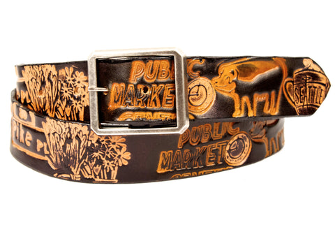 "Handmade Leather Belt-""Pike Place Market Tribute"""