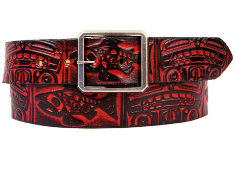 "Handmade Leather Belt-""Salmon & Bear"""