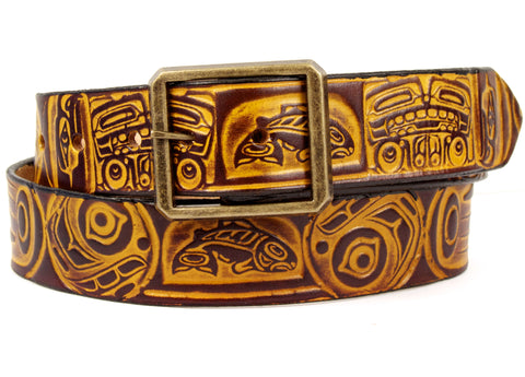 "Handmade Leather Belt-""Totem"""