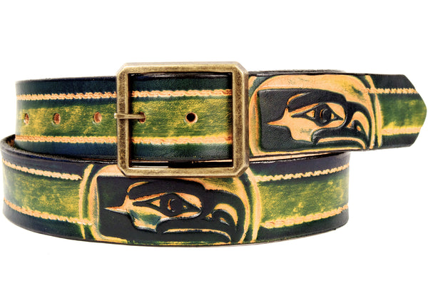 "Handmade Leather Belt-""Seahawks"""