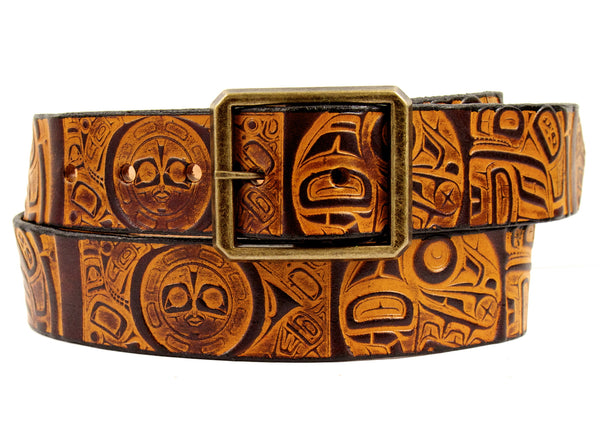 "Handmade Leather Belt-""Raven"""