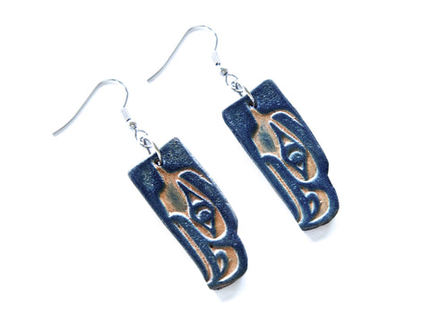 "Handmade ""Antiqued Seahawks"" Leather Earrings"