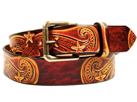 "Handmade Leather Belt-""Nebula"""