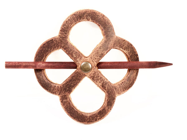 "Handmade ""Antiqued Enldess-Knot"" Leather Hair Barrette"