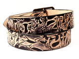 "Handmade Leather Belt-""Cows"""