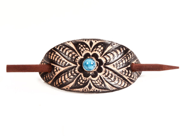 "Handmade ""Wildflower"" Leather Hair Barrette"