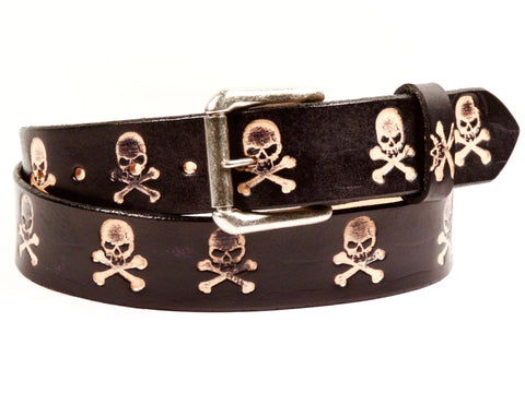 "Handmade Leather Belt-""Skulls"""