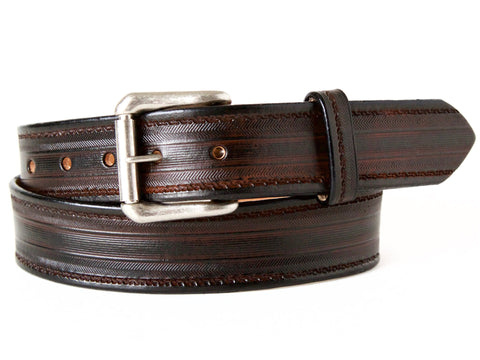 "Handmade Leather Belt-""Tread Herring"""